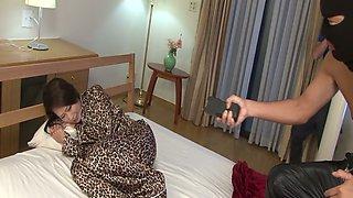 Whorish japanese MILF in leopard pajama gets abused