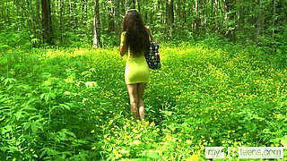 Katty West walks in the woods looking for a place to masturb