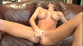 Amanda Emino gets fucked on the couch and eats his cum