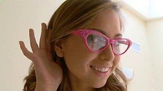 Squirting schoolgirl wearing glasses team-fucked hard