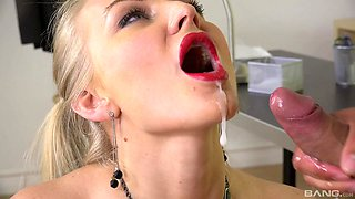Top office MILF gets laid on the table then swallows jizz
