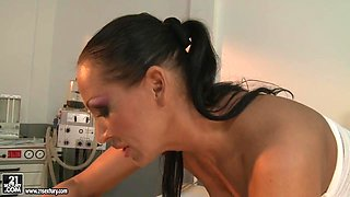 Mandy Bright let her patient suck a hard dildo
