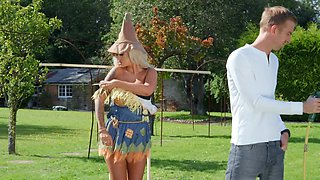 Well-hung stud impales blonde scarecrow with round boobs