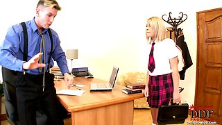 Bad schoolgirl punished & BJ!