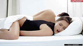 Horny cutie Stacy Cruz pleasures her cravings next to her sleeping hubby