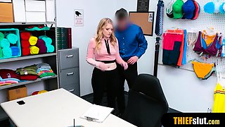 Blonde russian chick punish fucked by a pervy mall cop