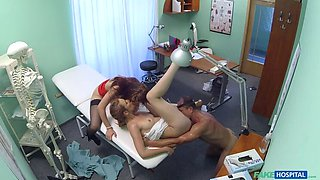 Hot nurse joins doctor and his sexy patient for threesome