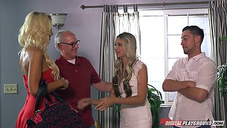 Cougars turn on the dude witha  steamy blowjob ahead of a thorough FFM