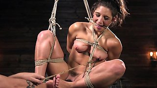 Hot brunette bound and punished in hot BDSM action