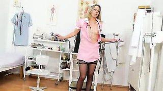 Blonde Female teasing in nurse uniform
