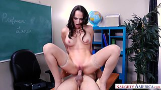Sexy brunette secretary Lexi Luna just loves fucking on the office table