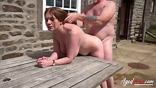Old man fuckes big titted brunette