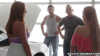 Fine-ass Daughters Switch Dads for Garage Porn