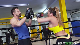Super hot curvy boxer Richelle Ryan is ready for fuck right on the ring