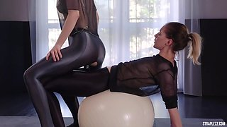 gym strap-on fetish - Merry and Danielle