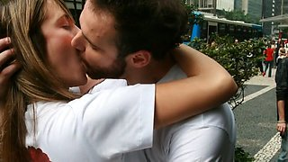 slideshow - deep & intense amateur tongue kissing