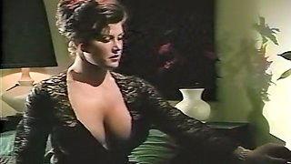 Mesmerizing brunette milf in black dress seduced by redhead milf