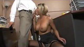 Slutty blonde slut gets blasts of cum all over her face