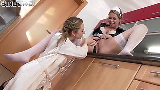 MAID FOR THE MESS! SPRAYING LESBO PISS ALL OVER!