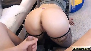 Russian milf fucks in stocks Rides cock