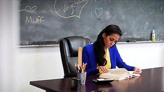 Kinky coeds on MILF teacher at school in foursome
