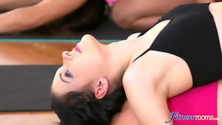 Kinky FFM threesome in the gym with Alexis Crystal and a sexy couple
