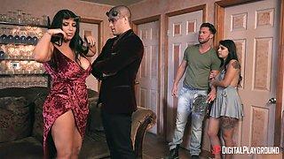 Hardcore foursome XXX video featuring seductive babe Gina Valentina
