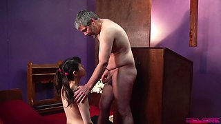 Obedient man enjoys first femdom experience at church