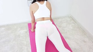 Workout in white leggings