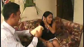 Mexican maid Jennifer gives head to the landlord taking hard dick balls deep