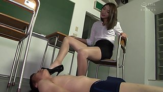 sexy shiny pantyhose high heels teacher punish you and extract your semen