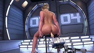 Huge tits oiled milf fucking machine