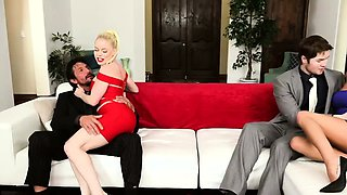 Swinger couples swap their wives The blonde wife gets naked