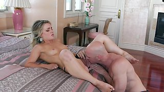 Young blonde shares BF's boner with her Asian stepmother