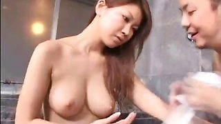 Japanese girls getting naked and going into the baths for