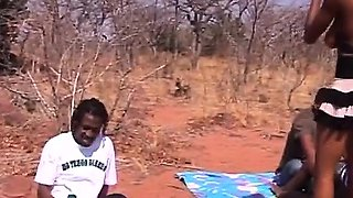 Outdoor deepthroat and nipple torment with African sluts