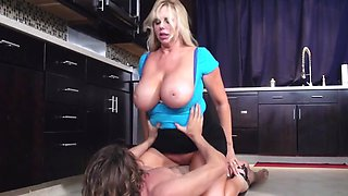 Cock riding in kitchen makes blonde's huge tits bounce so sexy