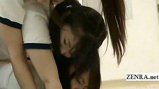 Subtitled Japanese schoolgirls micro bikini butt tower