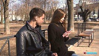 Beautiful teen Adel Bye is making with her new boyfriend