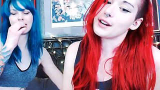 Red and Blue Haired Emo Babe Sucking And Slobbering