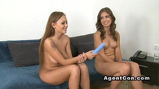 Horny girlfriends fuck in casting