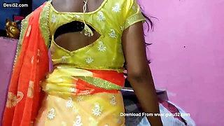 DESI VILLAGE BHABHI STRIPS IN FRONT OF DEVAR