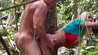 Nymphomaniac blonde chick loves to be fucked in nature