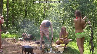 Drunk slutty chicks are ready for rough double penetration on picnic