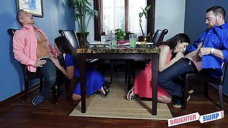 Sexy Lilly Hall and Audrey Royal swap daddies to fuck