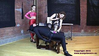 devious mistress uses machine to merciless milk male slave