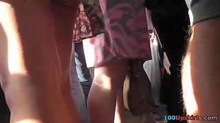 Thongs panties between fatty buttocks in upskirts XXX