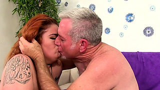 Ginger BBW Lilly Lust Mounts an Old Dick