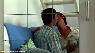 Taboo home sex son cums in mom
