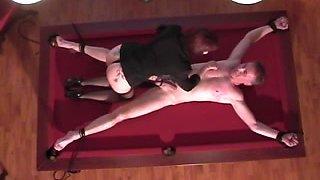 Smoking hot dominatrix punishes her male slave
